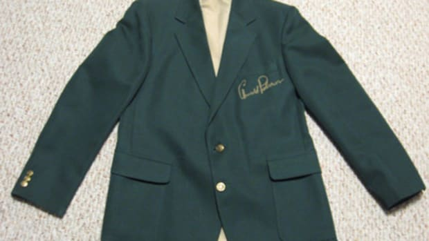 Arnold Palmer signed a green jacket sent to the Masters Locker Room.