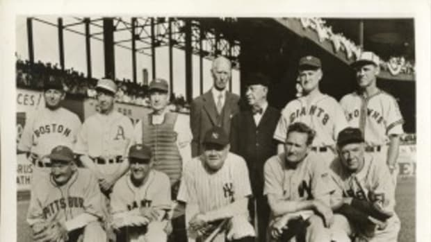"Seven of the 12 living Hall of Famers appeared in the ""Tableau of Yesterday"" at the War Bond Game in 1943. At top, from left, are: Duffy Lewis, Eddie Collins, Roger Bresnahan, Connie Mack, Bill Klem, Red Murray and George Sisler. Front row, from left: Honus Wagner, Frank Frisch, Babe Ruth, Walter Johnson and Tris Speaker."