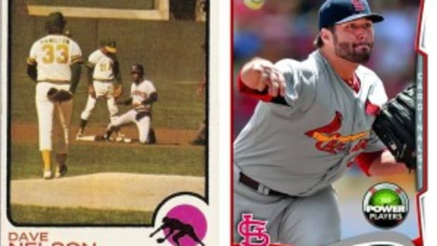 Comparing a 1973 in-action player card to a recent Topps card