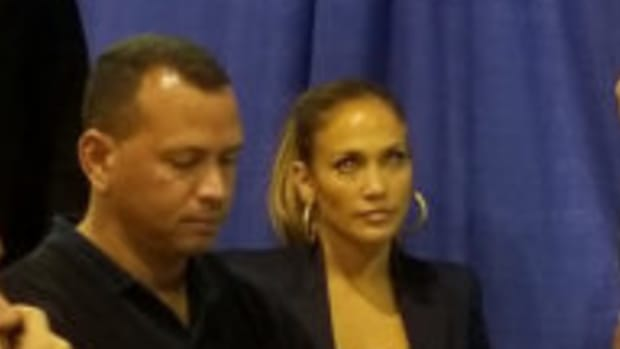 A-Rod and J. Lo at the National Sports Collectors Convention.