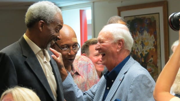 "Darnell ""Dr. Dunk"" Hillman (left), George McGinnis (center) and Bobby ""Slick"" Leonard (right) share a laugh during the Patron's Reception at the Dropping Dimes Foundation's Tip-Off Event and Fundraiser this past summer. Photos courtesy of Joe Dynlacht."