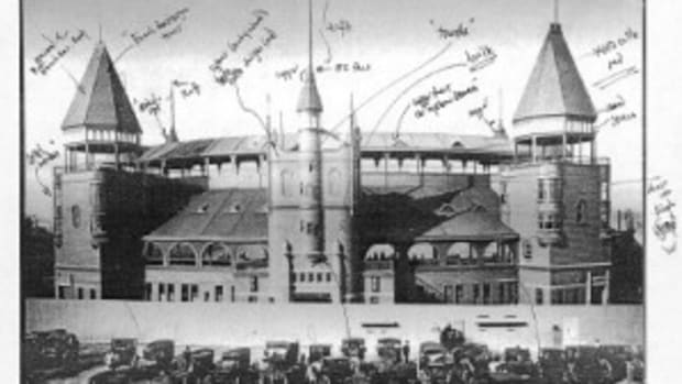 The following shows Tom Shieber's notations on the make-up of the South End Grounds. Shieber, senior curator at the Baseball Hall of Fame, has created an interactive exhibit of the fabled ballpark as part of the Classic Ballpark Tours display.