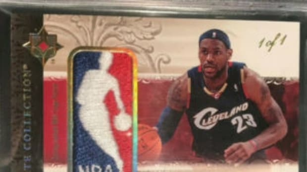 "2006 Upper Desk LeBron James ""Logoman"" card."