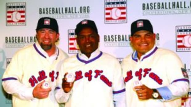 NEW YORK, NY - JANUARY 19: (L-R) Inductees Jeff Bagwell, Tim Raines, and Ivan Rodriguez look on during the 2017 Baseball Hall of Fame press conference on Thursday, January 19, 2017 at the St. Regis Hotel in New York City. (Photo by Alex Trautwig/MLB Photos via Getty Images)