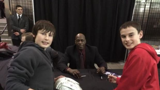 As a 10-year-old boy, the author met Val James after he was tossed out of a game. More than 30 years later, the author's kids met the hockey pioneer at a book signing.