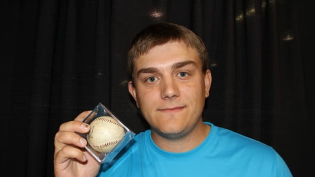 Nick Shubat shows off his Babe Ruth signed ball he won during a group break with Firehand Cards. Photos courtesy of Ross Forman.