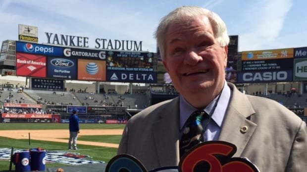 Ed Lucas celebrates his 60th Yankees home opener in 2015.