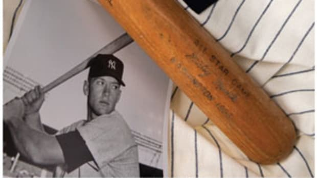 A 1956 Mickey Mantle All-Star Game-used bat, PSA/DNA GU 9.5., sold for $384,000.