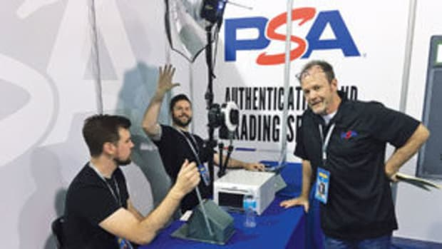 The PSA Custom Card Photo Booth (from left) Jesse Malina, cutting and preparing the cards; Sean Mongan, taking the photos; Terry Melia, coordinating the action at the booth. Photo courtesy of Jeffrey Copeland