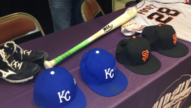 The Baseball Hall of Fame stopped by the Albany (N.Y.) International Airport on the way back from Kansas City after the World Series with a fresh load of artifacts for the 'Autumn Glory' exhibit.