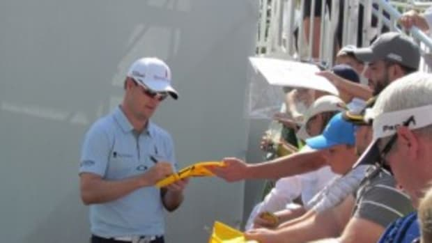 Zach Johnson signing at the Bridgestone Invitational.