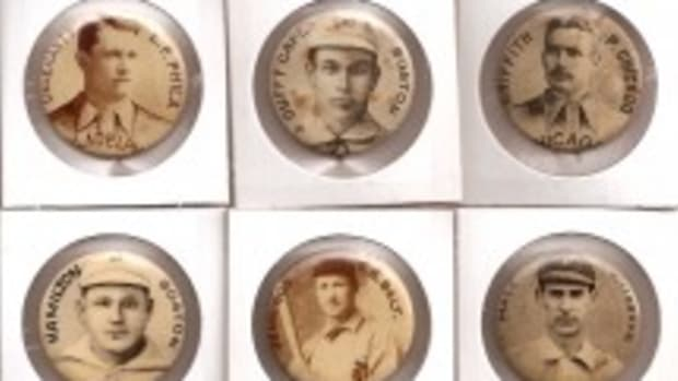 The Whitehead & Hoag pins of 1896 featured 12 Hall of Famers, including the only nationally issued collectibles of John McGraw (bottom left).