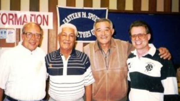 (L to R) Bob Schmierer, Bobby Avila, Chico Carrasquel and Pat Quinn. (Photo courtesy Pat Quinn)