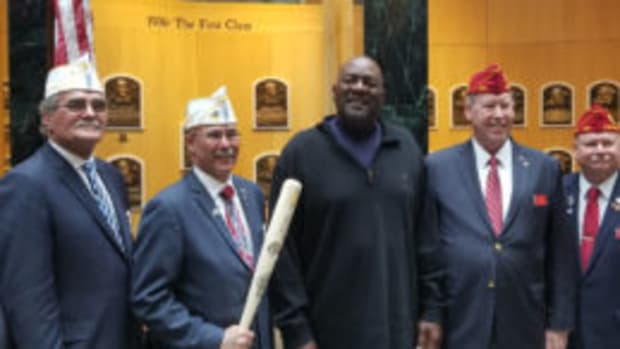 Baseball Hall of Fame pitcher Lee Smith (center) was on hand in Cooperstown when the American Legion's 100th anniversary and its contributions to youth baseball were celebrated. (Paul Post photos)