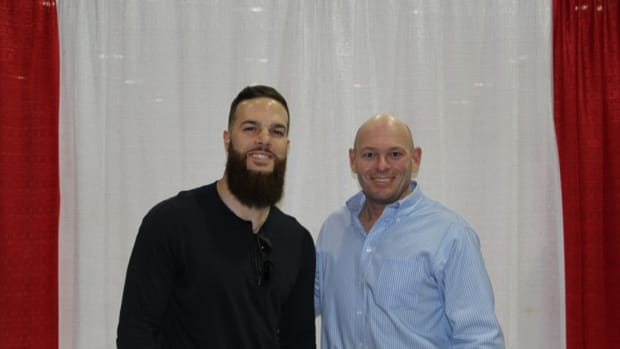 Dallas Keuchel, left, poses with the author during the Tristar Collector's Show in Houston in February.