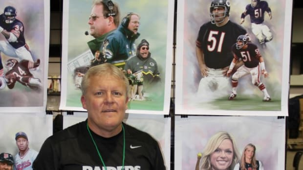 R. Todd Williams has found his niche in the sports collectibles field. He offers oversized canvas prints of sports stars, or anyone else someone asks for, through his business, Williams Sports Memorabilia. Ross Forman photos.