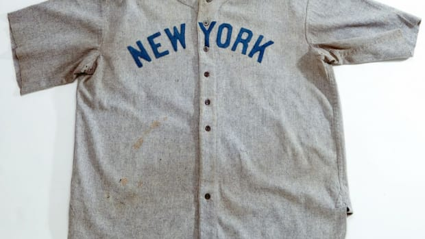 High-end pieces in the sports memorabilia market are approaching selling prices that are usually reserved for rare pieces of art . . . or mansions. This Babe Ruth jersey tipped the scales past $4 million in 2012 in a SCP Auctions sale.