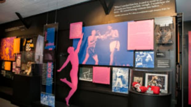 "A sampling of the boxing memorabilia on display in ""The Dancing Athlete"" exhibit at the National Museum of Dance in Saratoga Springs, New York. (Studio di Luce photo)"