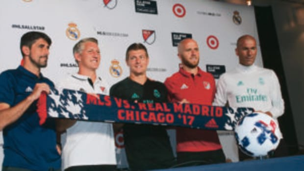 A Major League Soccer press conference on Training Day included (L to R) MLS Head Coach Veljko Paunovic, MLS All Star Bastian Schweinsteiger, Real Madrid player Toni Kroos, MLS All Star Michael Bradley and Real Madrid Manager Zinedine Zidawe. (Rick Firfer photos)