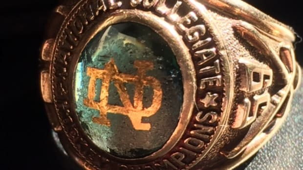 Former University of North Dakota hockey player Guy E. LaFrance still had his championship ring from 1959. He scored the overtime, game-winning goal against St. Lawrence in the semifinals in Troy, N.Y.