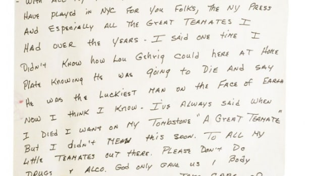 7/12/1995 Mickey Mantle's famous handwritten final farewell speech, minimum bid $10,000. Grey Flannel Auctions image