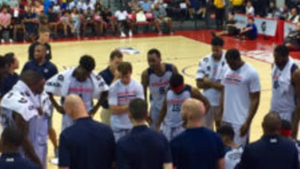 The Wizards take a timeout during a game at intimate Cox Pavilion during the NBA Summer League. (Kevin Nelson photos)