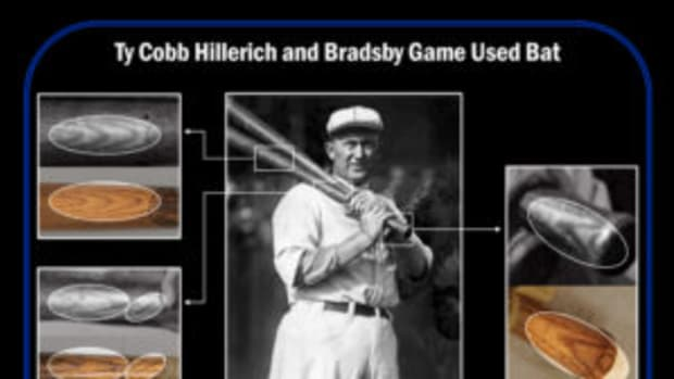 Side-by-side comparisons of a Ty Cobb bat that was photo matched to an image featuring Cobb while he played for the Philadelphia A's. (Images courtesy Resolution Photomatching)