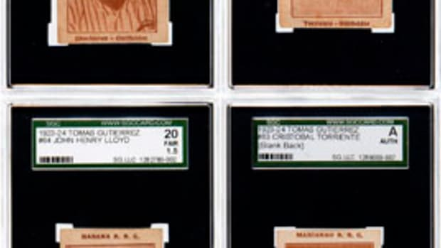 Examples from an 84-card collection of Cuban baseball cards issued 1923-24 by Tomas Gutierrez, manufacturers of Diaz brand cigarettes, SGC graded; set numbered 1-83 plus 85. Estimate $75,000-100,000. Image: Hake's Americana & Collectibles.