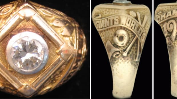 A 1922 World Series Champions ring. With at least four confirmed player rings in existence, this is probably the first team-issued World Series ring.