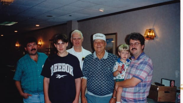 From August 1999 at the Boston-Peabody Classic with guest Johnny Podres. Front left to right: David Hall, son Jacob, Walter Hall, Johnny Podres, Joel Hall holding son Christopher.