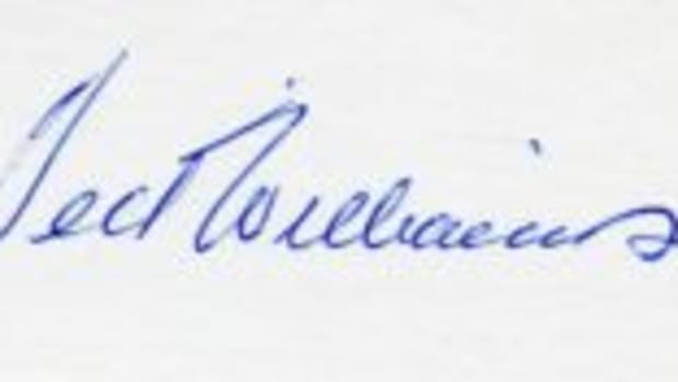 A Ted Williams signature from 1964. (Images courtesy Ron Keurajian)