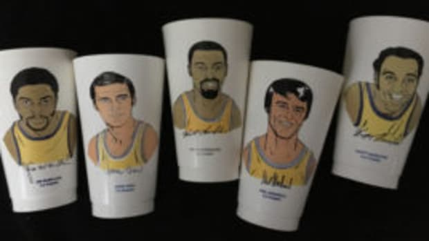 The Los Angeles Lakers cups have a strong representation in the 7-Eleven Slurpee basketball cups that were released in the early 1970s. (Doug Koztoski photos)