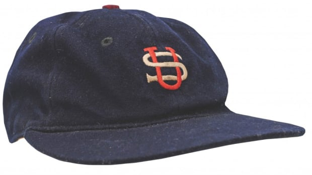 Babe Ruth cap game-used during the historic 1934 US All-Star Tour of Japan, $303,277. Grey Flannel Auctions image