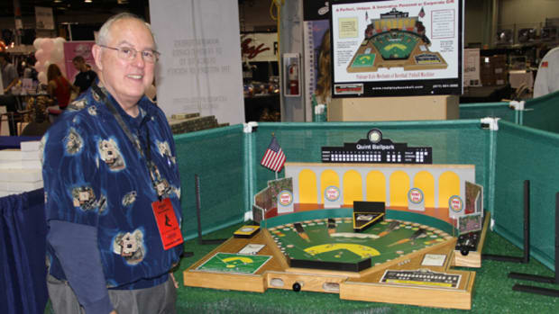 One of the must-visit spots at the National Convention was to check out Richard Quint Jr.'s creation of Quint Premier Baseball Games. This vintage-style pinball game was on display to play and available for $649 to show attendees. All photos by Ross Forman.