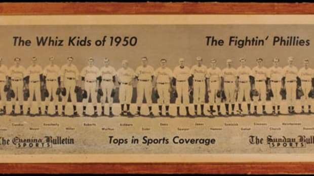 A great representation of the 1950 Phillies was a team panorama produced by the Philadelphia Bulletin. This is available for $100 and up.