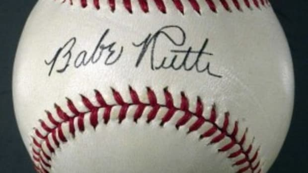 A fake Babe Ruth baseball, signed on the sweet spot.