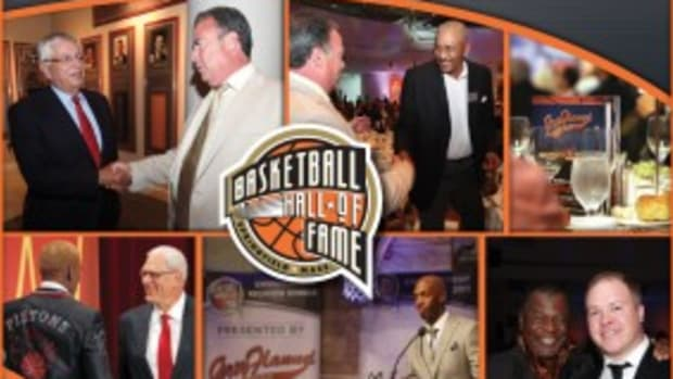A montage of highlights and memorable moments from past Induction events at the Naismith Memorial Basketball Hall of Fame. Grey Flannel Auctions image.