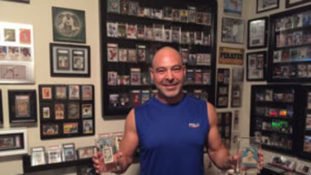John Mangini with a sampling of the sports cards and memorabilia collection he has assembled in a special room in his house. (Photos courtesy John Mangini)
