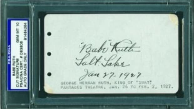 Babe Ruth signatures were among the most commonly forged sports autographs in 2012, according to PSA/DNA Authentication Services. This is an example of a genuine Ruth signature, certified authentic by PSA/DNA. (Photo credits: PSA/DNA Authentication Services.)