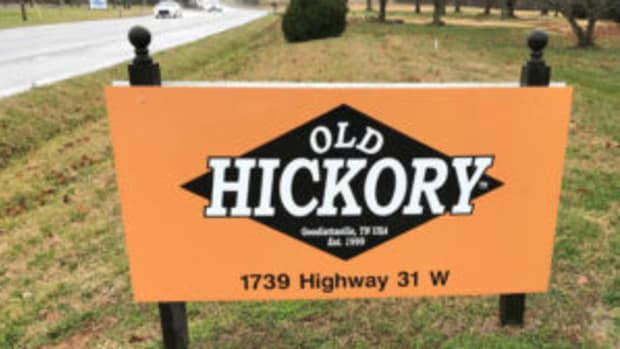 This road sign marks the location of Old Hickory Bat Company. (Barry Blair photos)