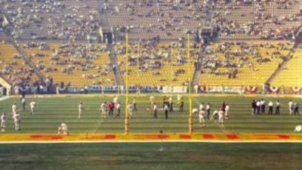 View from the end zone in the Super Bowl I of the Green Bay Packers against the Kansas City Chiefs at the Memorial Coliseum in Los Angeles, California on January 15, 1967. (Photo by James Flores/WireImage.com/Kansas City Chiefs)