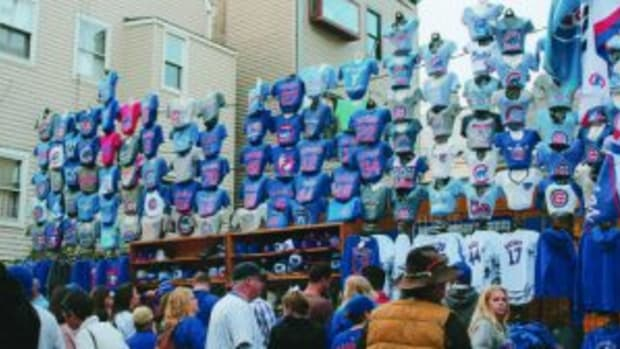 There was plenty of Chicago Cubs memorabilia available from vendors outside of Wrigley Field.