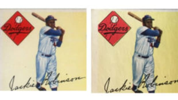 Long-time dealer Rob Rosen has purchased three 1955 Topps Jackie Robinson cards that are missing part of the diamond logo (right). The vast majority of the Robinson cards from that set contain a complete diamond logo (left). (Rob Rosen photos)