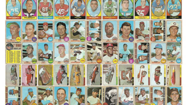 "This is what an uncut sheet of the 1968 Milton Bradley cards would look like. Created by Joseph Allen Wier. For a ""key"" to this collage, see the uncut sheet roadmap on page 52."