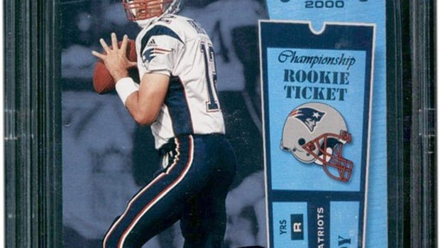 The Tom Brady rookie card that was sold for $2.25 by Lelands.