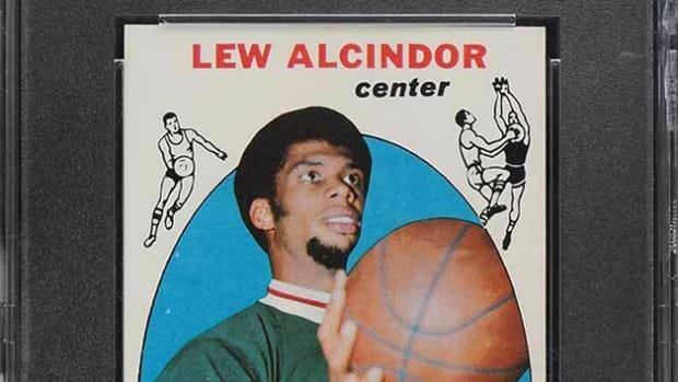 A 1969 Topps Lew Alcindor card.