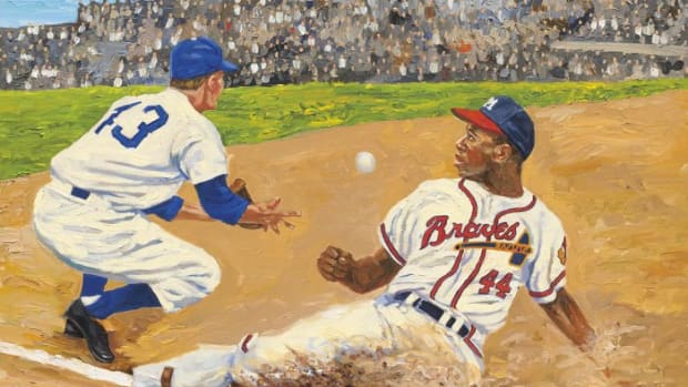 A Dick Perez painting featuring Hank Aaron.