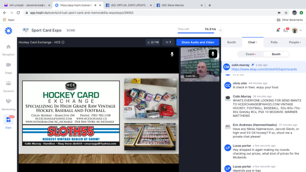 A screen shot from the 2020 Sport Card Expo.