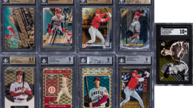 A Shohei Ohtani Superfractor collection sold by Goldin Auctions.