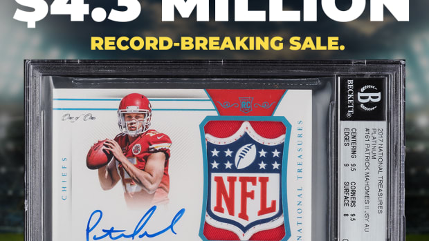 A 1/1 autographed Patrick Mahomes rookie card with an NFL Shield patch sold for a record $4.3 million.